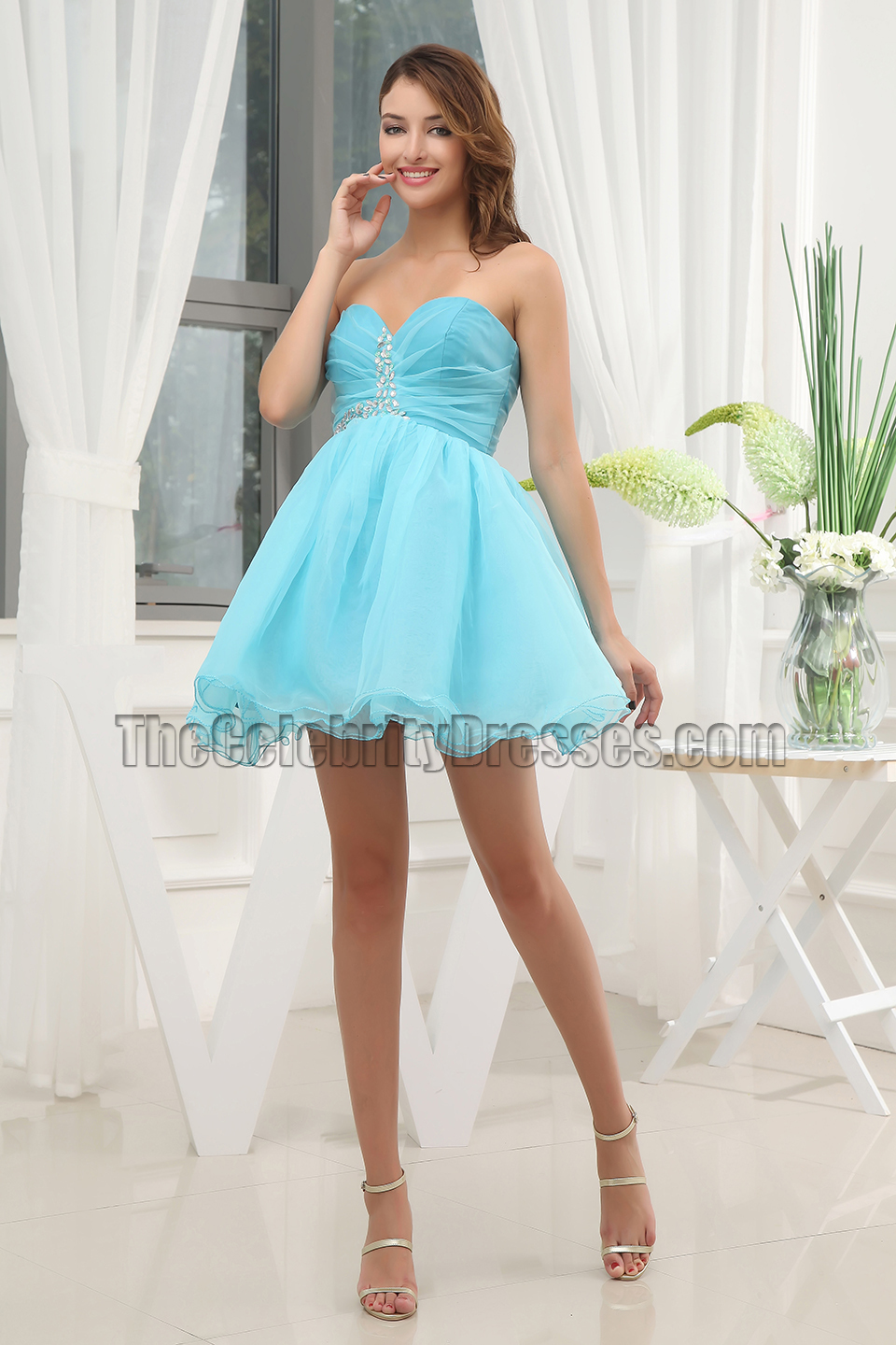364d1166ead7 Cute Blue Strapless Short Mini Party Dress Homecoming Dresses -  TheCelebrityDresses