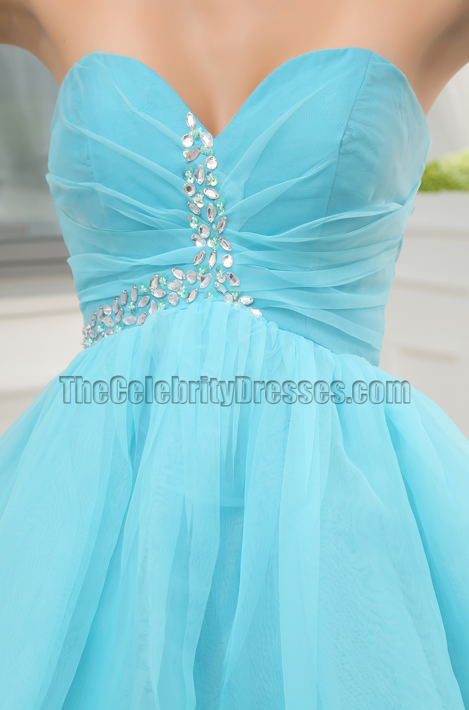 Cute Blue Strapless Short Mini Party Dress Homecoming Dresses ...