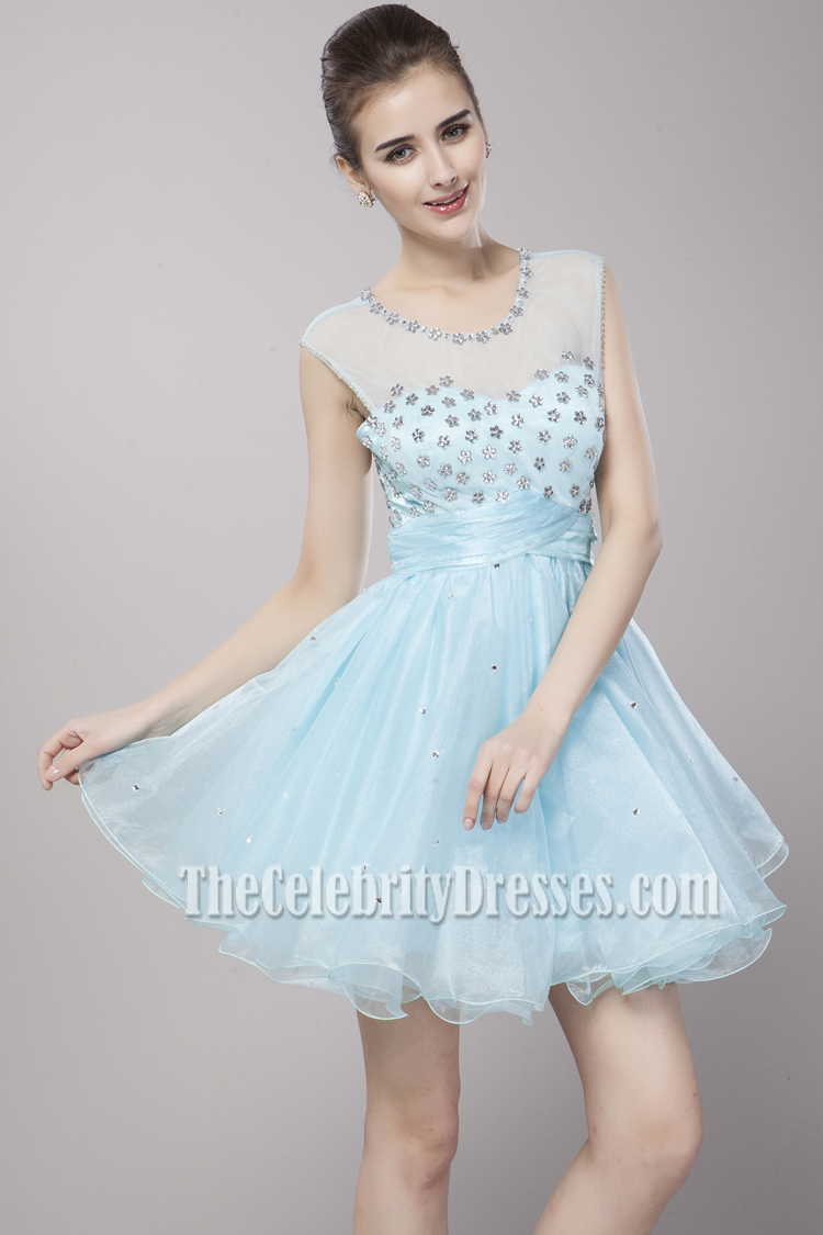 Cute Light Sky Blue Beaded Party Homecoming Dresses ...