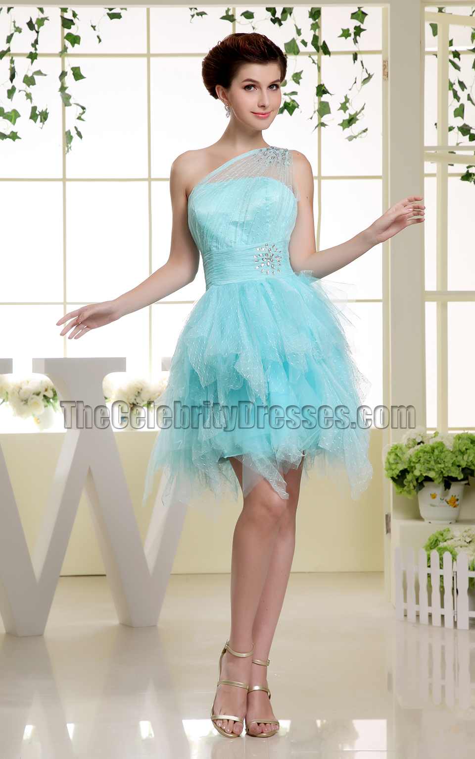 Cute Light Sky Blue One Shoulder Tulle Party Dress Homecoming ...