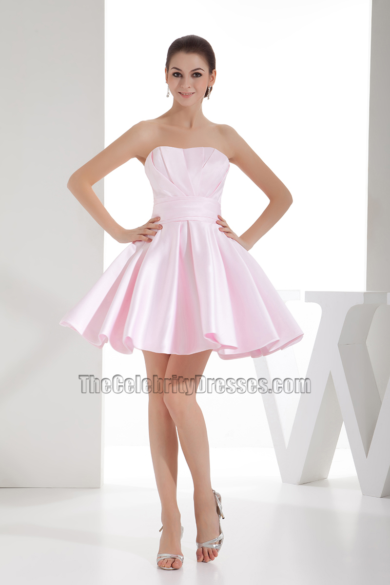 Cute Pearl Pink Strapless A-Line Homecoming Party Dresses ...