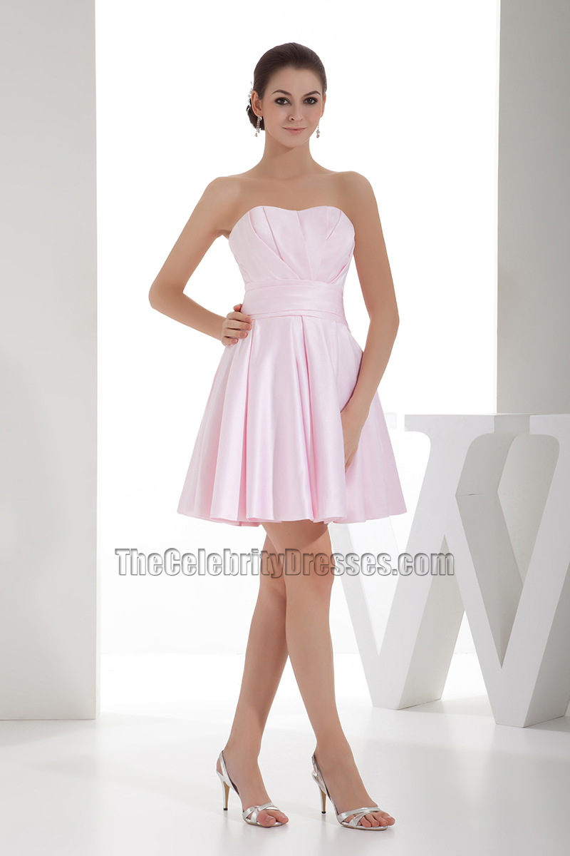 Cute Pearl Pink Strapless A Line Homecoming Party Dresses