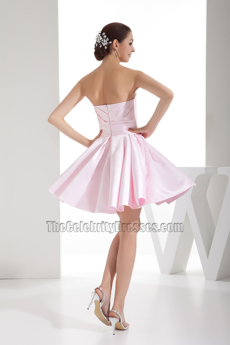 eac3833df9b Cute Pearl Pink Strapless A-Line Homecoming Party Dresses ...