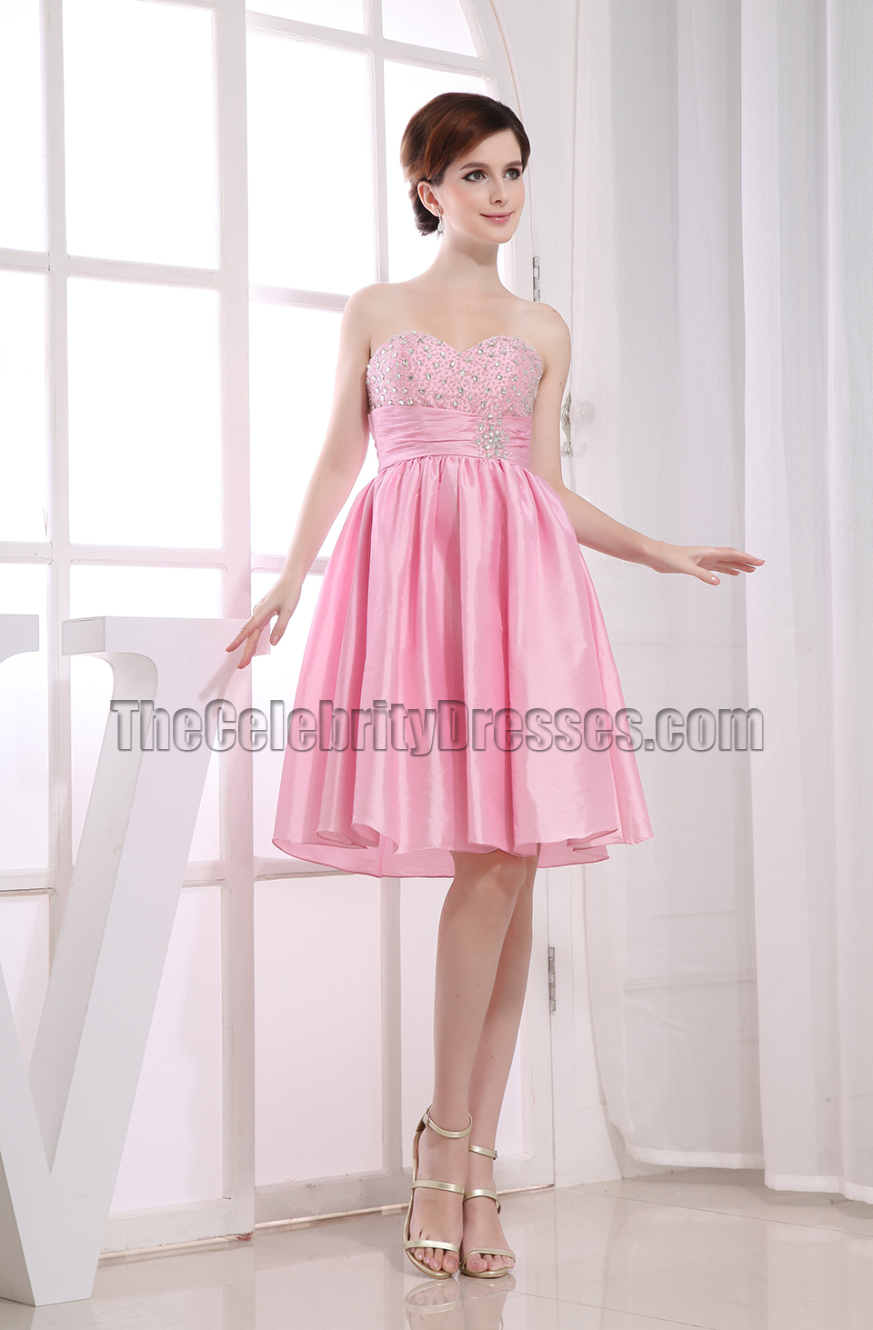 Cute Pink A-Line Sweetheart Party Dress Homecoming Dresses ...