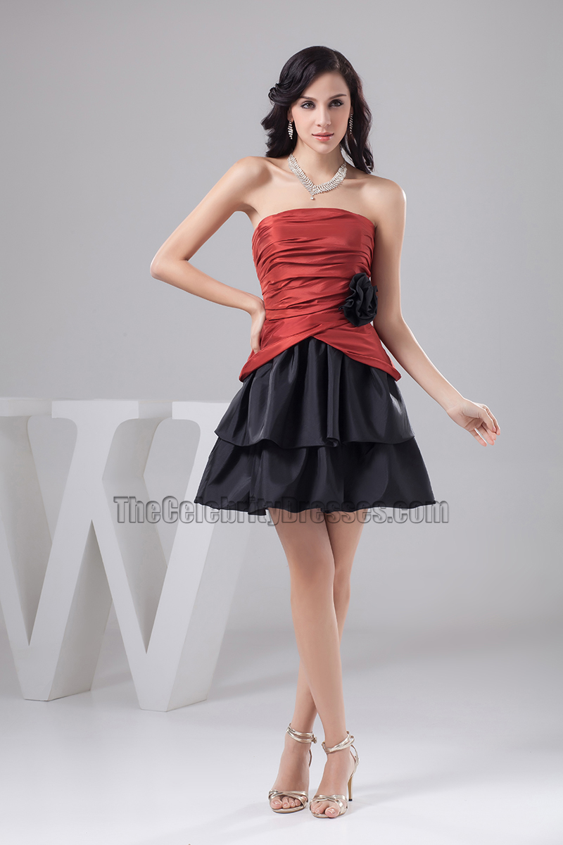 Red And Black Strapless Short Party Homecoming Dresses ...