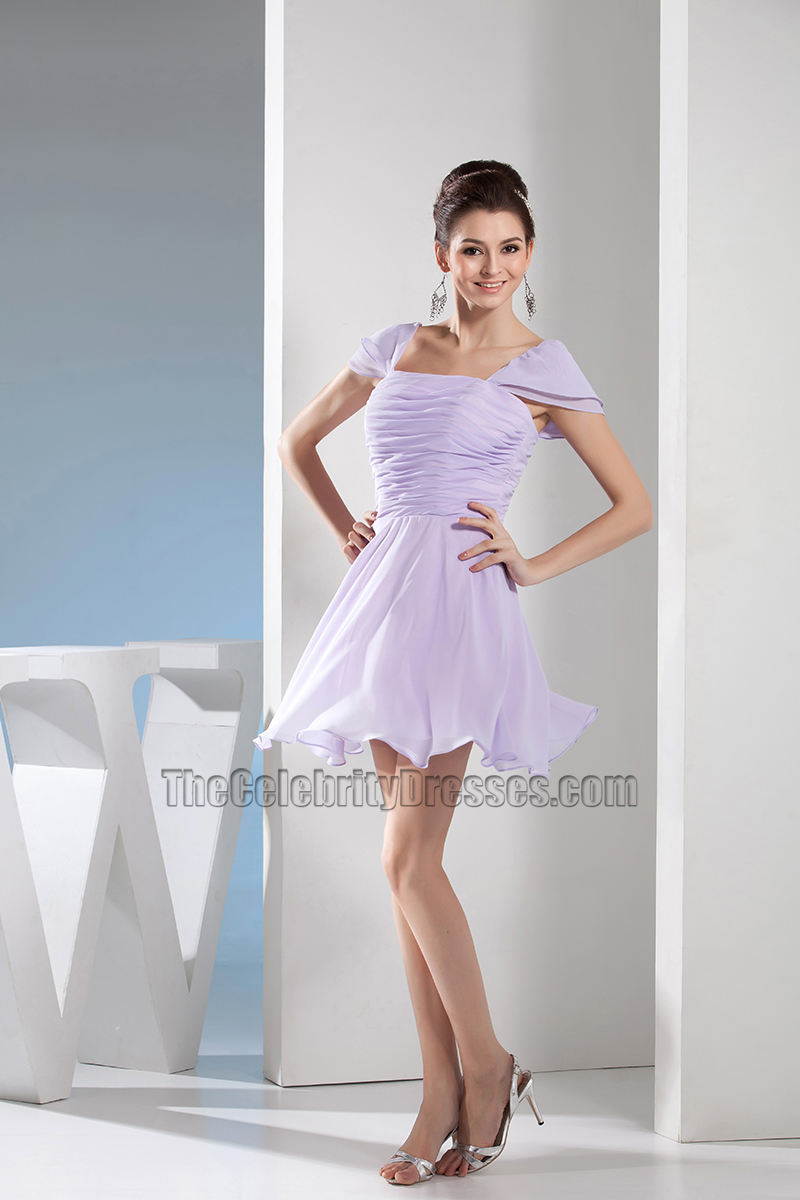 3b3a1183c73 Short Cap Sleeve Lilac Chiffon Party Homecoming Dresses ...