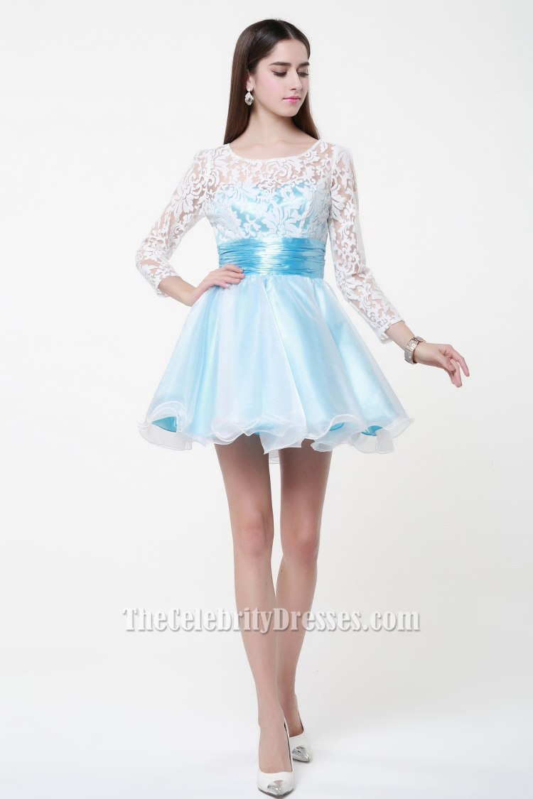 2f601b09e5 Cute Short Long Sleeve A-Line Party Homecoming Dresses TCDBF027
