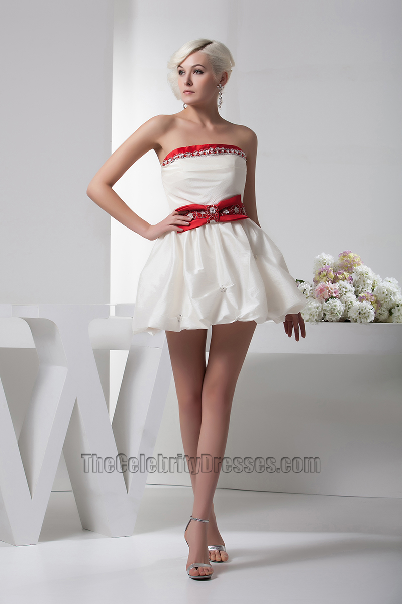 Short Mini Ivory And Red Strapless Party Homecoming Dresses - TheCelebrityDresses