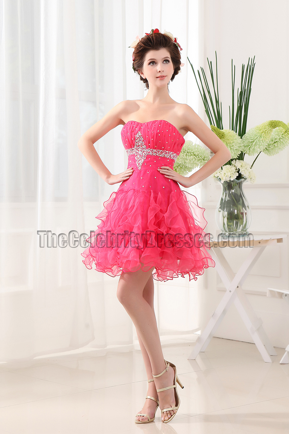Cute Short Tulle Strapless Party Dress Homecoming Dresses ...