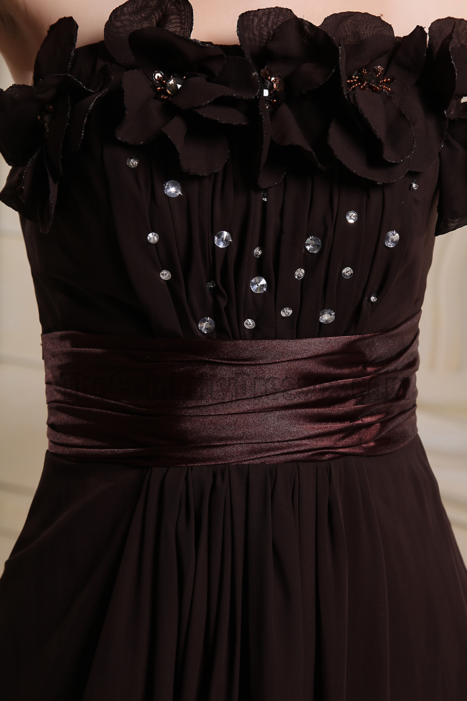 Strapless Chocolate Beaded Prom Dress Evening Gowns ...