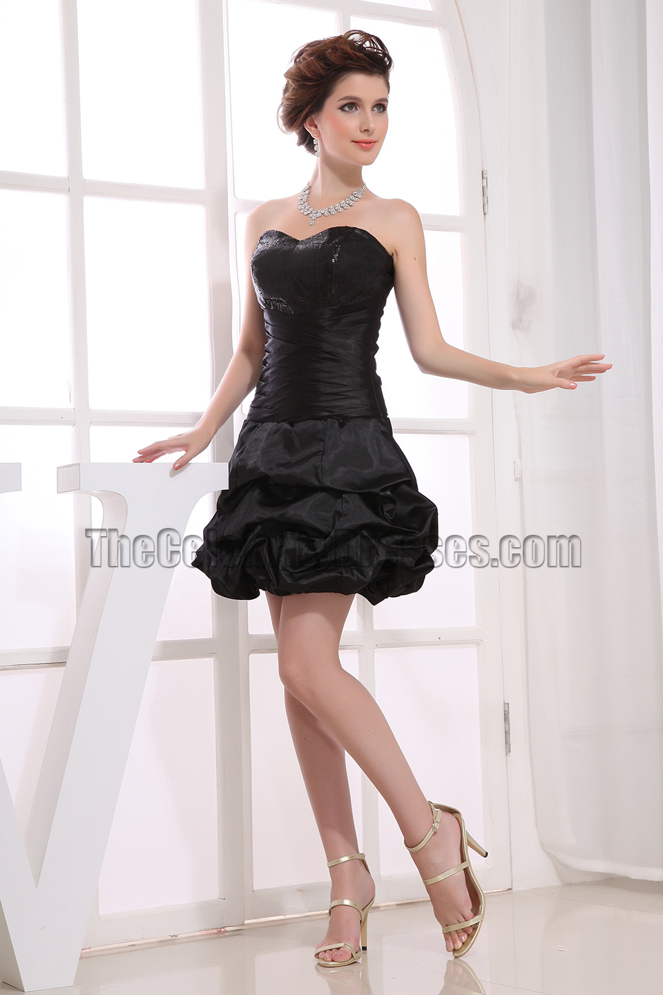 Cute Strapless A-Line Little Black Dress Party Dresses - TheCelebrityDresses