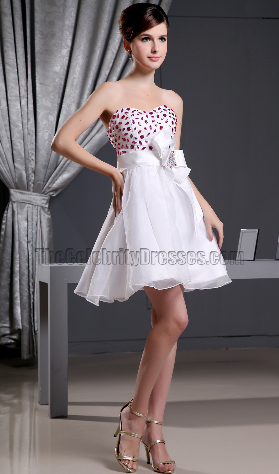 cute sweetheart aline beaded party dress homecoming