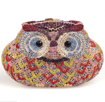 Women's New Design Owl pattern Crystal Beaded Clutch Purse TCDBG0086