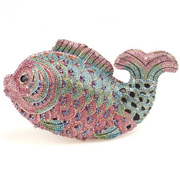 Women's Cute Design Rhinestone Fish Shape Clutch Purse Bag TCDBG0085