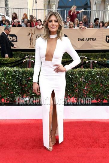 Charissa Thompson Sexy High Slit Ivory Long Sleeve  Evening Dress 2017 SAG Red Carpet