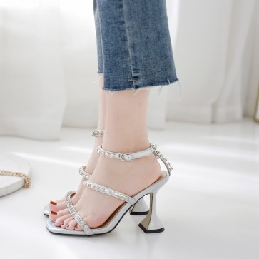 Ankle Strap Open-toe Cup High Heels Sandals Open-toe Shoes With Rhinestone