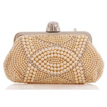 Handmade Pearl Evening Bag Women Fashion Studded Clutch Handbag 7