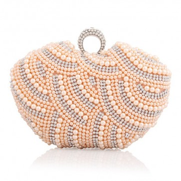 Women Pearl Beading Mini Evening Handbag Girls Party Cocktail Purse Bag