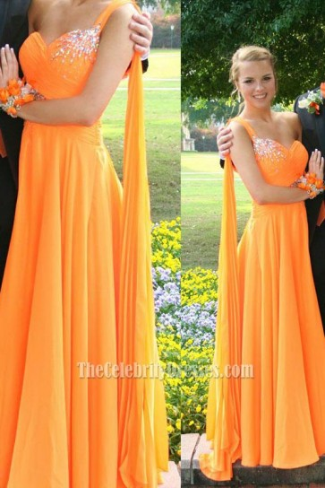 New Fashion One-shoulder Yellow Evening Dress Bridesmaids Prom Gown 1