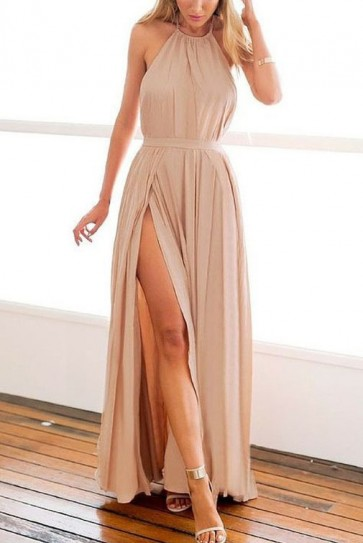 Elegant Pleated Halter High Split Backless A-Line Prom Dress