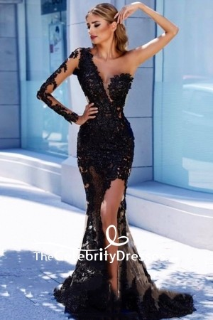 V-neck Black Tulle Appliques One Shoulder Sexy Mermaid Prom Dress