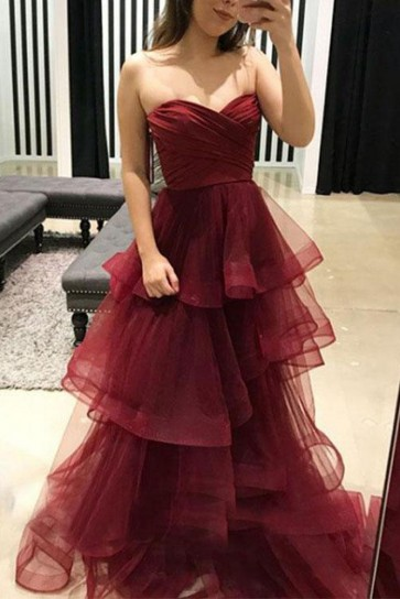 Burgundy Strapless Sweetheart Ruffled A-line Prom Dress