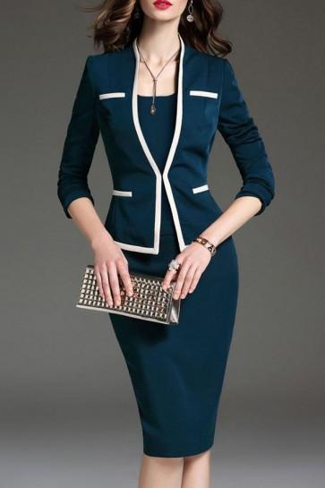 Long Sleeves Scoop Business Suit