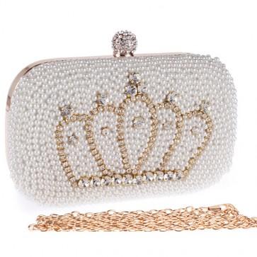 New Fashion Pearl Evening Bag Ladies Diamond Crown Handbags 3