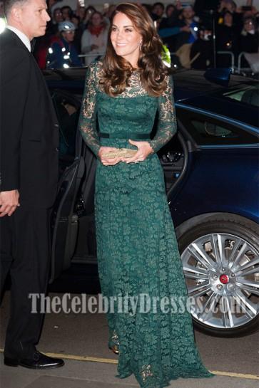 Kate Middleton Long Green Lace Evening Dress