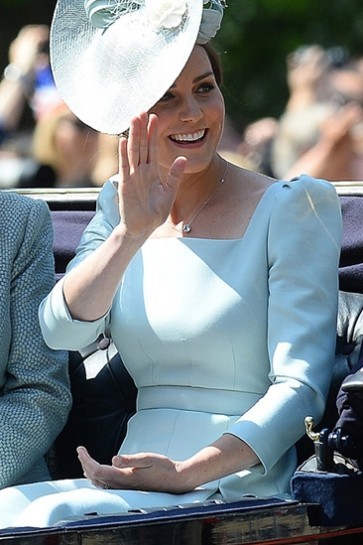 Kate Middleton Elegant Square Neck Light Sky Blue Pleated Dress