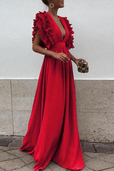 Ruffled Solid V-neck Long Wrap Dress