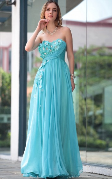 Blue Strapless Prom Gowns Evening Formal Dresses