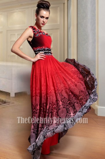 Floor Length Red Print One Shoulder Evening Formal Dresses
