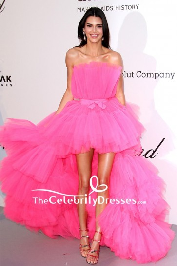 Kendall Jenner Pink Strapless High Low Gown amfAR Cannes Gala 2019