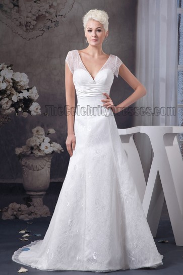 A-Line V-Neck Cap Sleeve Chapel Train Wedding Dress
