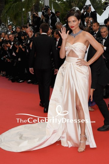 Adriana Lima Champagne Cut Out Thigh-high Slit Evening Formal Dress Cannes Film Festival 2018 Red Carpet