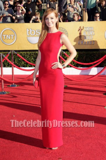 Ahna O'Reilly Red Backless Prom Dress Celebrity 2012 SAG Awards Red Carpet