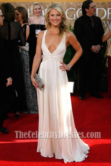 Ali Larter Sexy Deep V-Neck Prom Dress 2007 Golden Globe Red Carpet
