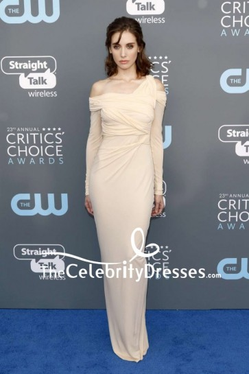 Alison Brie Off-the-shoulder Form Fitting Evening Prom Dress With Long Sleeves 2018 Critics' Choice Awards