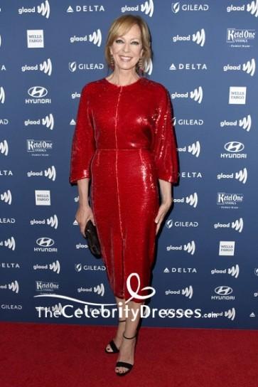 Allison Janney Sequin Dress Red Tea-Length Prom Dress 2019 GLAAD Media Awards