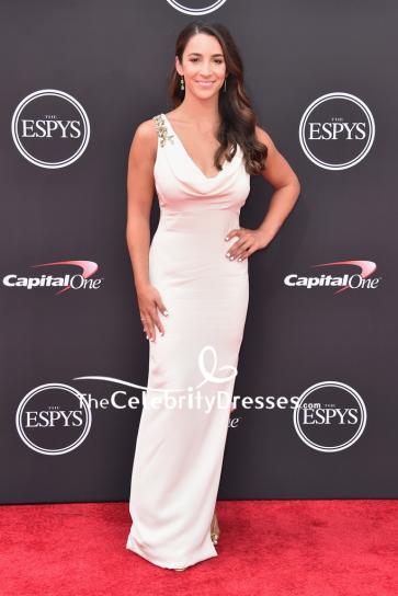 Aly Raisman White Cowl Neck Column Evening Dress 2018 ESPYS
