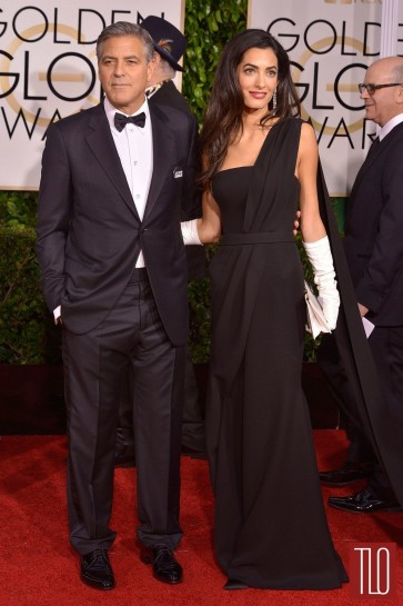 Amal Clooney 2015 Golden Globe Awards Black Chiffon Evening Dress