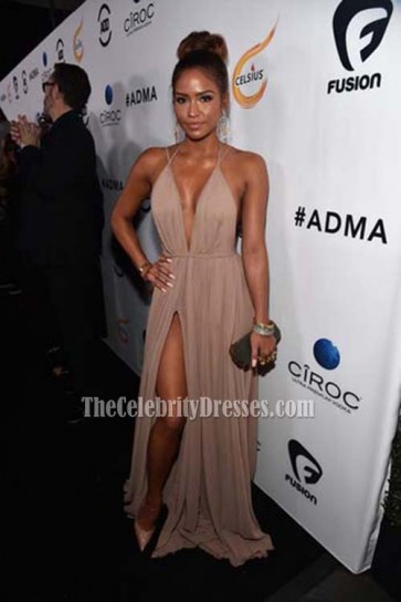 Cassie Ventura Spaghetti Straps Deep V-neck Evening Prom Gown First-Ever All Def Movie Awards TCD6811