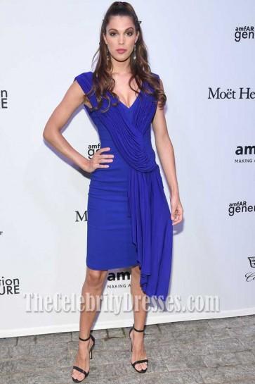 Iris Mittenaere Royal-blue Cap Straps Backless Column Dress AMFAR Generation CURE Solstice