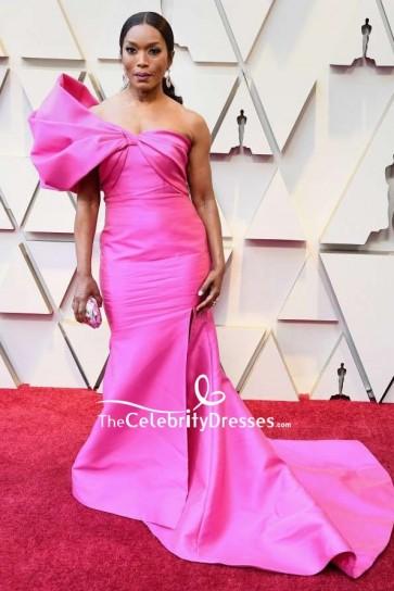 Angela Bassett Fuchsia One-shoulder Thigh-high Slit Formal Dress 2019 Oscars