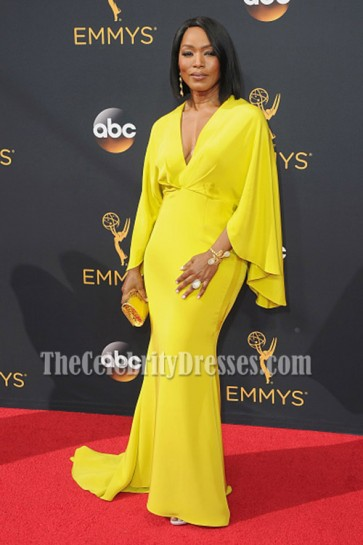Angela Bassett Yellow Sleeves Deep V-neck Evening Prom Gown Fox Broadcasting's Emmy After-party 3