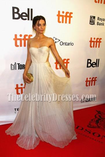 Angela Sarafyan Chiffon Spaghetti Strap Evening Prom Gown The Promise Premiere 2016 3