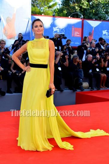 Marvellous Anna Safroncik Yellow Evening Prom Dress At La La Land Film Premiere 1