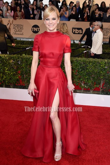 Anna Faris SAG Awards 2016  Red High Neckline Short Sleeves Formal Dress  4