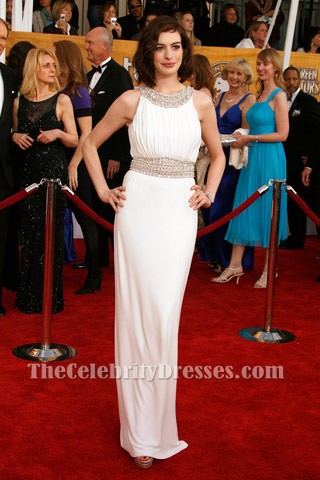 2663d8089c3 Anne Hathaway White Prom Dress 2009 SAG Awards Red Carpet Dresses ...